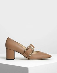 Charles And Keith Leather Buckle Strap Mary Jane Heels Brown