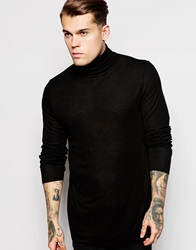 Asos Longline Long Sleeve T Shirt With Roll Neck In Stretch Rib Black