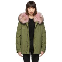 Mr And Mrs Italy Green Mini Fur Army Parka