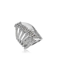 Hueb Plisse 18K White Gold Split Diamond Ring