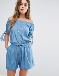 Liquorish Denim Off The Shoulder Playsuit Blue