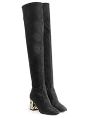 Burberry Shoes And Accessories Suede Over Knee Boots Black