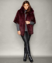 The Fur Vault Plus Size Fox Trim Knitted Mink Fur Hooded Jacket