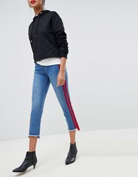 Only Straight Leg Crop Jean With Sports Stripe Mid Wash Blue