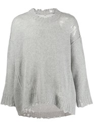 R 13 R13 Distressed Cashmere Sweater Grey