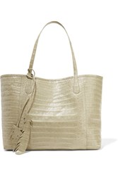 Nancy Gonzalez Crocodile Trimmed Python Tote Sage Green