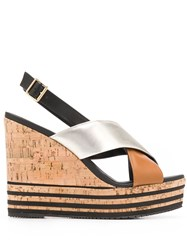 Hogan Crossover Strap Stripe Detail Wedge Sandals Brown