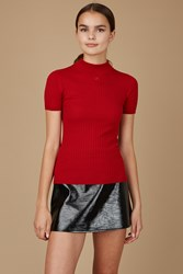 Courreges Ribbed Short Sleeve Turtleneck Sweater Maxi Red