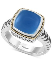 Effy Collection Serenity By Effy Chalcedony Quartz Ring 5 Ct. T.W. In Sterling Silver With 18K Gold Accents Blue