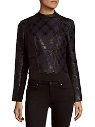 Yigal Azrouel Cropped Front Zip Jacket Midnight