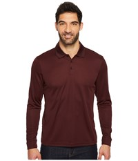 Perry Ellis Three Button Long Sleeve Jacquard Polo Wine Long Sleeve Pullover Burgundy
