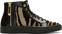 Versus Black And Gold Studded Tiger Stripe Sneakers