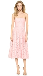 Bb Dakota Alva Strapless Lace Midi Dress Powder Puff