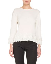 Andrew Gn Fringed Silk Knit Top Cream