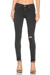 Hudson Jeans Nico Mid Rise Skinny Blackened Charcoal Destructed