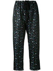 Hache Embroidered Floral Trousers Women Acetate Viscose 44 Blue