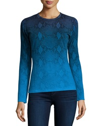 Neiman Marcus Cashmere Collection Ombre Snake Print Cashmere Sweater