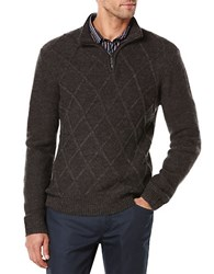 Perry Ellis Quarter Zip Pullover Sweater Charcoal
