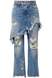 R 13 R13 Double Classic Distressed Mid Rise Straight Leg Jeans Mid Denim