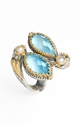 Konstantino 'Amphitrite' Pearl And Semiprecious Stone Cluster Ring Swiss Blue Topaz Pearl