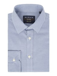 Howick Men's Tailored Malone Puppytooth Check Shirt Blue