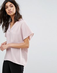Selected Woven V Neck Top Adobe Rose Pink