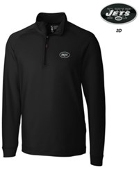 Cutter And Buck Men's New York Jets 3D Emblem Jackson Overknit Quarter Zip Pullover Black