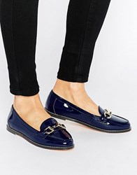 London Rebel Bar Loafers Navy Patent