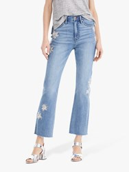 J.Crew Floral Embroidered Cropped Jeans Ocean Sky Wash