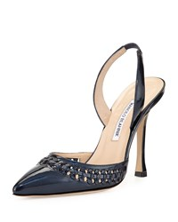 Nave Woven Trim Patent Leather Pump Navy Manolo Blahnik