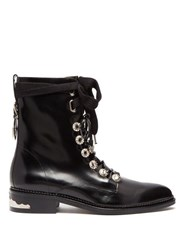 Toga Polished Leather Ankle Boots Black