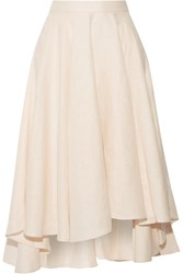 Miguelina Gale Asymmetric Linen Midi Skirt Pastel Pink