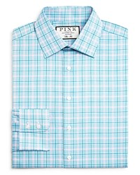Thomas Pink Ethen Check Slim Fit Button Down Shirt 100 Bloomingdale's Exclusive Teal Pink