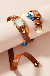Anthropologie Brown Beaded Wrap Watch