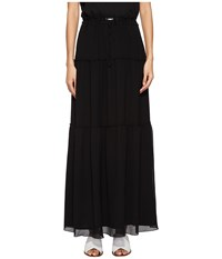 Versace Jeans Layered Long Skirt Nero Black