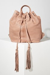 Day And Mood Tasselled Leather Backpack Rose