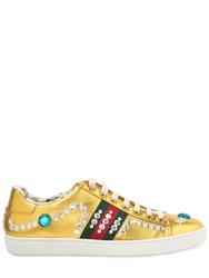 Gucci New Ace Jeweled Metallic Leather Sneaker