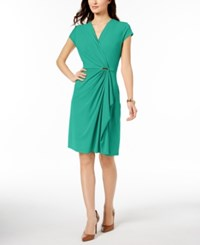 Charter Club Petite Faux Wrap Dress Created For Macy's Acadia Green