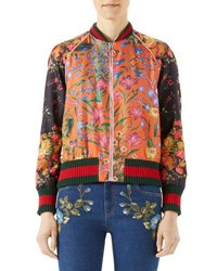 Gucci Macro New Flora Twill Baseball Jacket Multi Multi Pattern