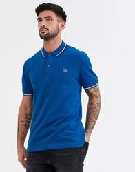 Lacoste Tipped Polo Shirt In Blue