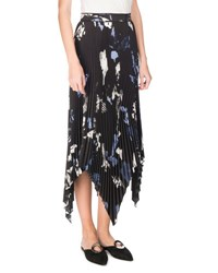 Proenza Schouler Collage Pleated Handkerchief Hem Midi Skirt Black Pale Blue White Multi Pattern