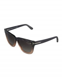Tom Ford Celina Square Ombre Acetate Sunglasses Gray Black