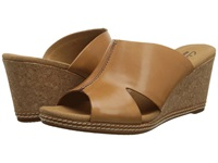 Clarks Helio Island Tan Leather Women's Wedge Shoes