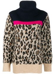 Sacai Leopard Knit Jumper Blue