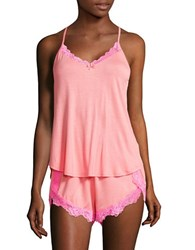 Betsey Johnson Lace Trim Camisole And Shorts Set Coral