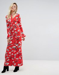 Asos Maxi Tea Dress With Neck Tie In Red Floral Red Floral Multi