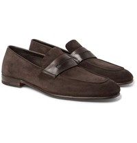 Ermenegildo Zegna Asola Leather Trimmed Suede Penny Loafers Dark Brown