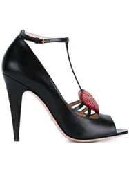 Gucci Crystal Heart Pumps Black