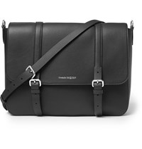 Alexander Mcqueen Full Grain Leather Messenger Bag Black