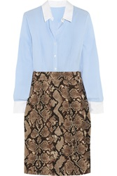 Altuzarra For Target Pinstriped Crepe De Chine And Python Print Twill Shirt Dress Animal Print